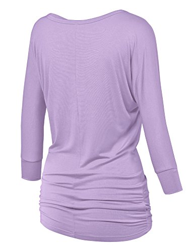 483d4db49a2 Made By Johnny WT1036 Womens V Neck 3 4 Sleeve Dolman Top with Side Shirring