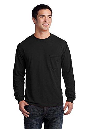 Gildan Men's Ultra Cotton Long Sleeves Pocket T-Shirt_Black_XL ()