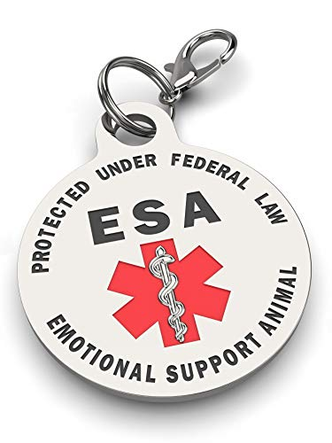 Double Sided Small Breed Emotional Support Animal (ESA) Red Medical Alert Symbol and Protected by Federal Law .999 inch ID Tag. Easily Switch Between Collars Harness and Vest.