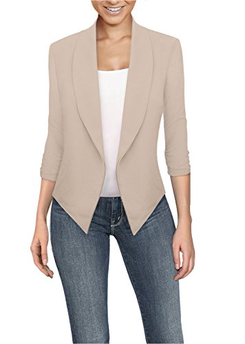 Womens Casual Work Office Open Front Blazer JK1133X Stone 2X