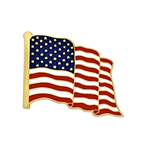 PinMart Made in USA Waving American Flag Enamel Lapel Pin – Gold