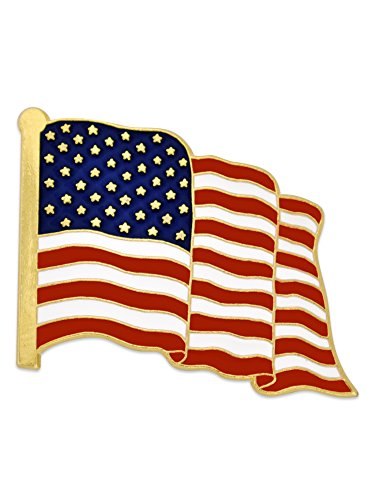 PinMart's Proudly MADE IN USA American Flag Jewelry Quality Gold Enamel Lapel Pin Lapel Womens Pins