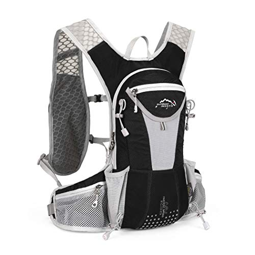 IBTXO Hydration Pack Backpack 12L Outdoors Marathoner Running Race Hydration Vest with Water Bladder for Hiking Skiing Running Cycling Camping Fits Men and Women (Black-Only - Vest Fit Running