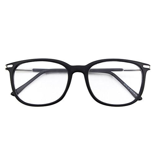 Happy Store CN79 High Fashion Metal Temple Horn Rimmed Clear Lens Eye Glasses,Matte Black]()