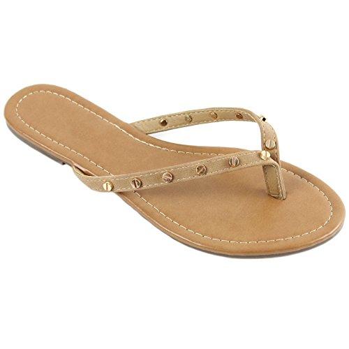 - New Womens Summer Cute Gold Plated Stud Thong Sandal Slipper Flip Flops (8, Nude)