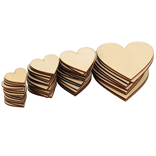 Outus 160 Pieces Christmas Blank Wood Heart Embellishments Wood Heart Slices for Wedding, Valentine, DIY, Arts, Crafts, Card Making (Craft Wood Assorted)