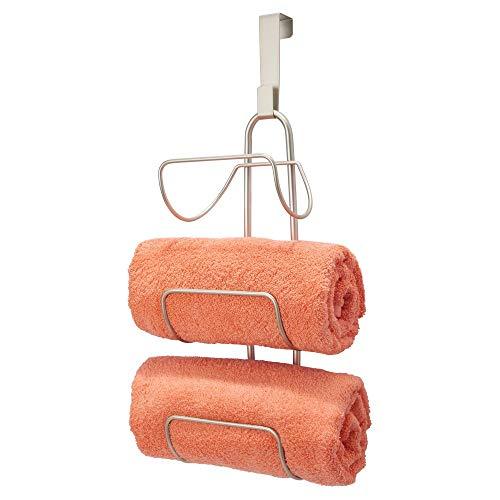 (mDesign Modern Decorative Metal Wire Over Shower Door Towel Rack Holder Organizer - for Storage of Bathroom Towels, Washcloths, Hand Towels - 3 Tiers - Satin)
