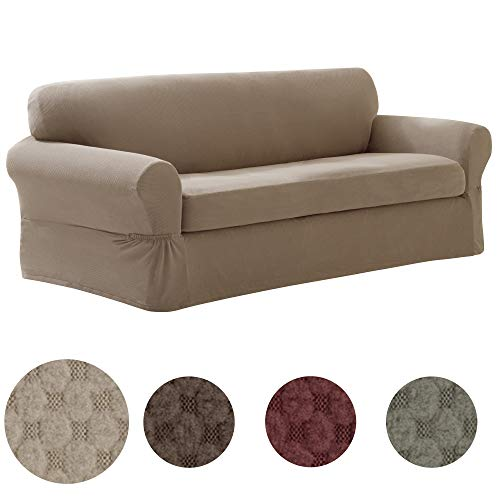 MAYTEX Pixel Ultra Soft Stretch Sofa Couch Furniture Cover Slipcover, 2 Piece Sand