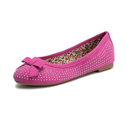 Hawkwell Mary Jane Bow Ballerina Flat (Toddler/Little Kid/Big Kid),Fuchsia Fabric,13 M - Apparel Little Fuchsia Kids