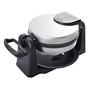 Costway Flip Belgian Waffle Maker Round Non Stick Stainless Steel w/ Removable Drip Tray