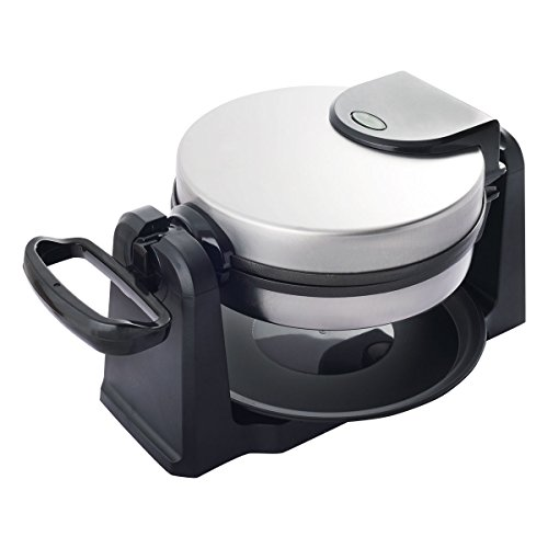 Costway Flip Belgian Waffle Maker Non Stick Stainless Steel w/Removable Drip Tray (Round)