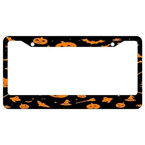 Cute License Plate Frame Women/Girl,Car Licenses Plate Covers Funny License Tag Aluminum Metal Frame - Orange Halloween -