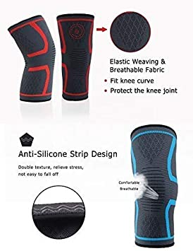 Basketball 2 Pack Breathable Knee Compression Sleeves for Men and Women Workout Knee Support Braces for Running Sports Knee Joint Pain Prevention by Stysz Weightlifting Gym