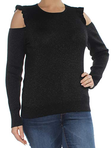 Cable Dkny - DKNY Womens Cold Shoulder Metallic Pullover Sweater Black L