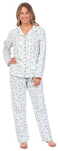 (Patricia Lingerie Pink Lady Womens 100% Cotton Long Sleeve Print 2 Piece Flannel Pajama Set (Blue Rose Print,)