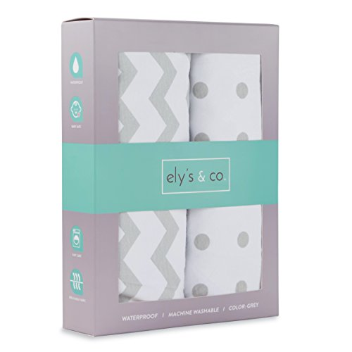Ely's & Co. Kid's Waterproof Pack n Play Portable Mini Crib Sheet with Mattress Pad Cover Protection, White and Grey Chevron and Polka Dots (2 Pack) (N/a Mattress Pads)
