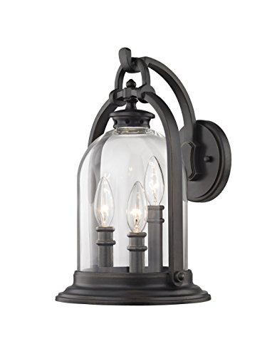 - Fifth and Main WL-2114 North Haven 3 Medium Outdoor Wall Sconce, 3 Light, English Bronze
