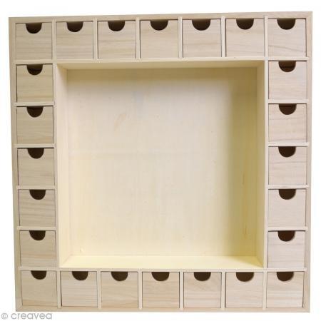 Artemio 14001541 Wooden Advent Calendar Square with Drawers To Decorate-39cmx 39.5cmx 6.5Cm