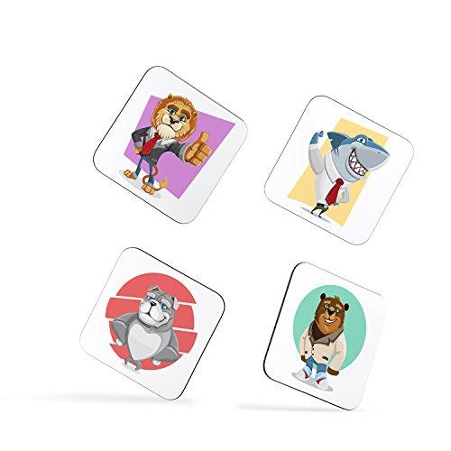 (Lion Shark Bulldog Bear Animal Children Kids Coasters)