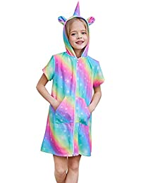 Basumee Girls Terry Cover Up Rainbow Unicorn Hooded Terry Cloth Swim Coverup for Beach 2-12Y