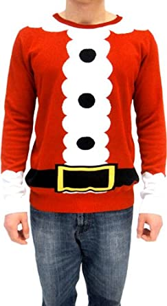 Amazon.com: Ugly Christmas Sweater Santa Claus Adult Red Costume ...