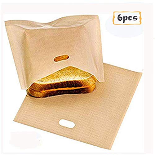 (Toaster Bags, Non Stick Reusable Toaster Bag 6PCS Heat Resistant Microwave Oven Toaster Sandwich Bags - Perfect for Grilled Cheese Pizza Slices Chicken Nuggets Fish Vegetables Panini Toast)