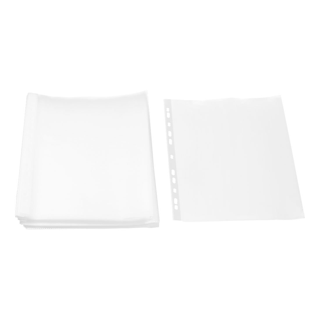uxcell Plastic School Square Shaped File A4 Paper Storage Sheet Protector 0.05cm Thickness 100pcs Clear