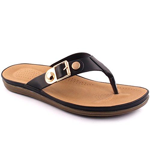 Unze Zapatillas planas ocasionales del zapato del carnaval de la escuela de la playa del verano de los nuevos de las mujeres 'Paul' Zapatos Tamaño BRITÁNICO 3-8 Negro