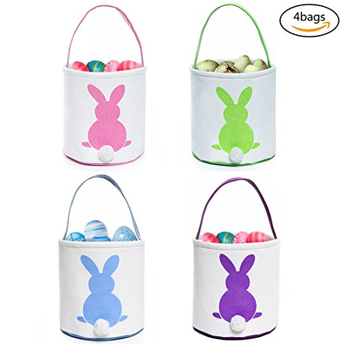 GWELL Foldable Bunny Handmade Easter Egg Basket Fluffy Tails Printed Rabbit Canvas Kids Tote Bag Bucket for Candies Goodies DIY Gifts (1 Set-4 Colors)