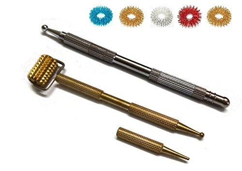 ACS / ACM Sujok Acupression de la Sonde en Métal Multifonction 5 en 1 + cylindre en Métal avec des pièces jointes Dismandable Diagnostic Jimmys + 5pcs Sujok Anneaux L– 13 Cm, Rouleau Métallique LXBXW– 11X2.5X1.5Cm Silver & Gold
