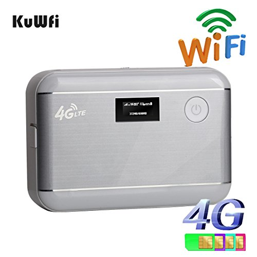 KuWFi 5200mAH Power bank 4G lte WIFI Router unlocked LTE 4G Mobile WiFi Hotspot Portable Power Bank 4G Router with sim card slot&RJ45 goods for travel and Business trip