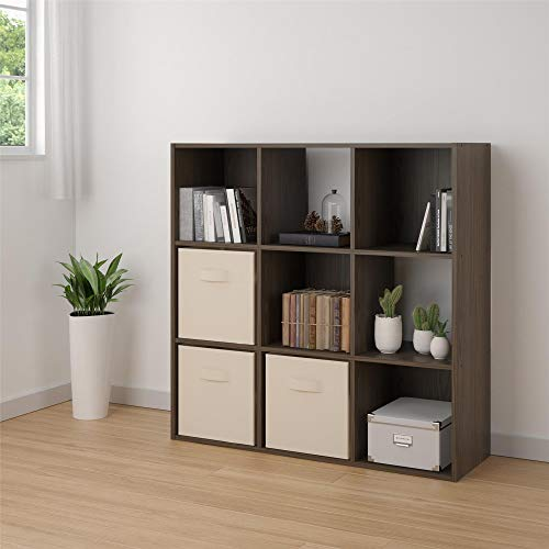 RealRooms Tally 9 Cube Bookcase, Medium Brown
