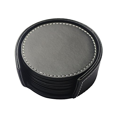 PINMEI Black Leather Drink Coasters with Holder Set of 6, Round, 3.9inch
