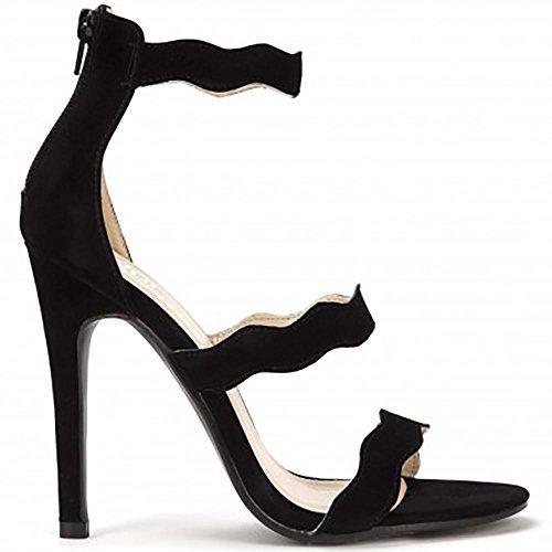 Noir à Peine Il Peep Toe Cheville Sangle Talons Aiguilles Hauts Talons Strappy Sandals Chaussures