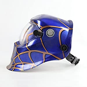 Solar Powered Welding Helmet Auto Darkening Hood with Adjustable Shade Range 4/9-13 for Mig Tig Arc Welder Mask Shield Spider Web Design by XUGEL GROUP