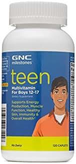 GNC milestones Teen Multivitamin for Boys 12-17, Supports Energy, Muscle, Skin Immunity, 60 Servings