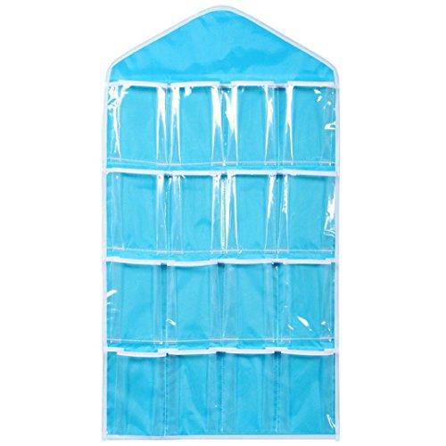 Wall Hanging Storage Bag,IEason 16Pockets Clear Hanging Bag Socks Bra Underwear Rack Hanger Storage Organizer (Blue)