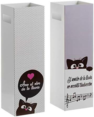 D,casa - Pack 2 Paraguero Metal Gatitos con Frases romantica: Amazon.es: Hogar