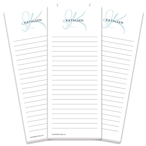(Initial Personalized Lined Shopping List Pads -Set of 3, Lined, 50-sheet pads, Add Your Name and Initial, Personalized Stationery, Housewarming Gift)