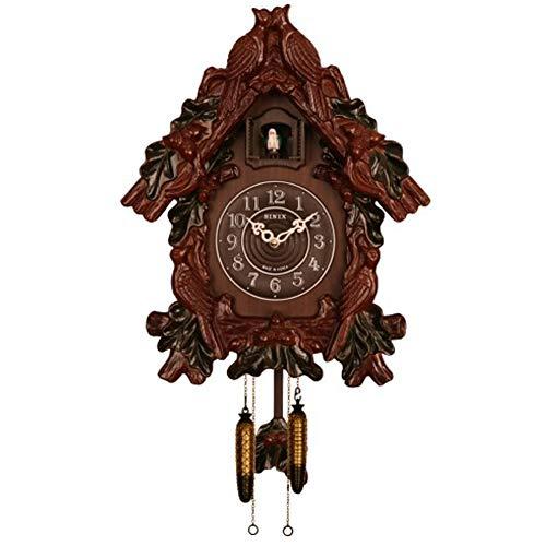 Sinix SN685C Handcrafted Antique Wooden Cuckoo Pendulum Wall Clock, Brown