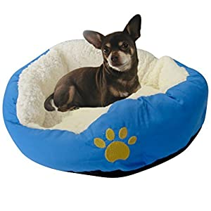 Evelots Small Round Pet Bed, One Size, Blue 56