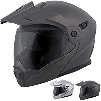 ScorpionEXO Unisex-Adult Modular/Flip Up Adventure Touring Motorcycle Helmet (Matte Black, Medium) (EXO-AT950 Solid)