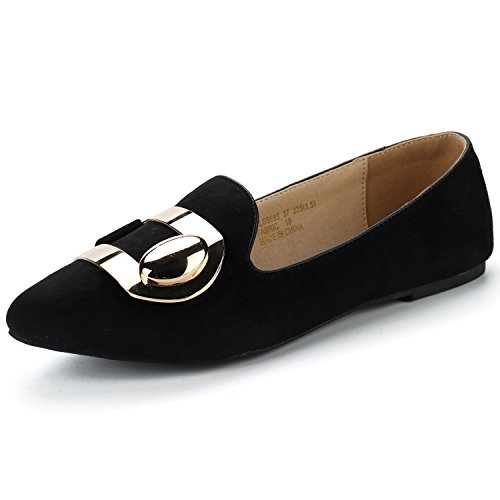 Alexis Leroy Womens Fashion Pointy Toe Ballet Slip On Suede Flats