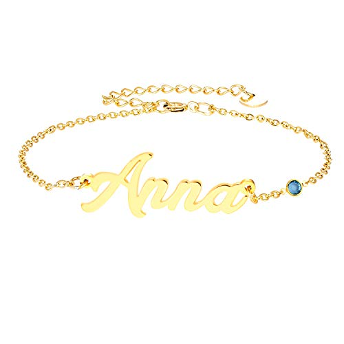 LAOFU Personalized Name Bracelet 18k Gold Link Bracelet with Birthstone, Custom Made Jewelry in Any Name, Gift for Women (A-Customized Chain with Birthstone-Gold)