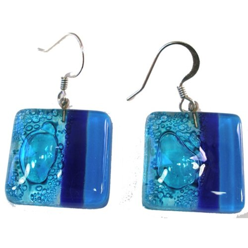 Design Light Blue Fused Glass - Global Crafts CGJ6S-6-225065 Square Fused Glass Earrings- Blue Bubbles Design- Chile