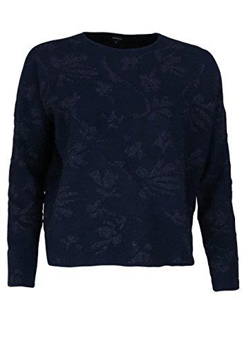 ONLY Langarm Pullover Rundhals Strick Stickerei Muster dunkelblau