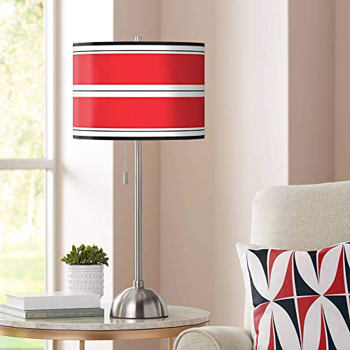 Red Stripes Giclee Shade Table Lamp - Giclee Glow