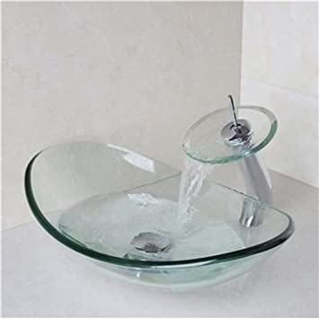 Genial HomeLava Lavabo Vasque En Verre Trempé Transparent, Avec Robinet Cascade à  Poser La Salle De