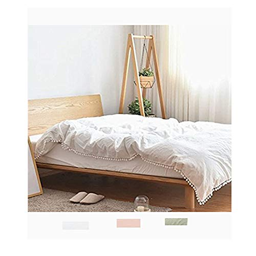 - Meaning4 Pom poms Fringe Cotton Duvet Cover White Twin Size 68 x 90inches