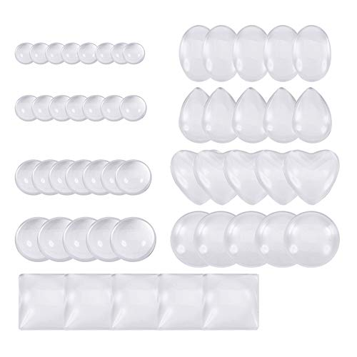 (PH PandaHall 130pcs 5 Shape 9 Size Clear Glass Dome Cabochons for Photo Cameo Pendant Craft Jewelry Making)